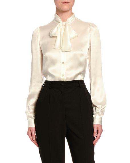 Dolce & Gabbana Fluid Silk Tie-Neck Shirt