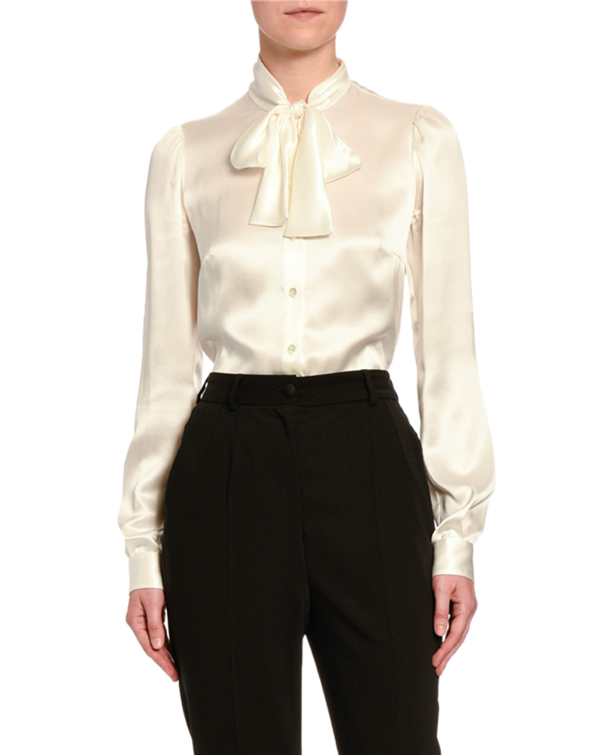 Dolce & Gabbana Fluid Silk Tie-Neck Shirt