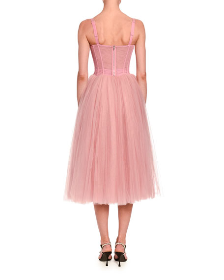 Image 2 of 2: Tulle Bustier Tea-Length Dress