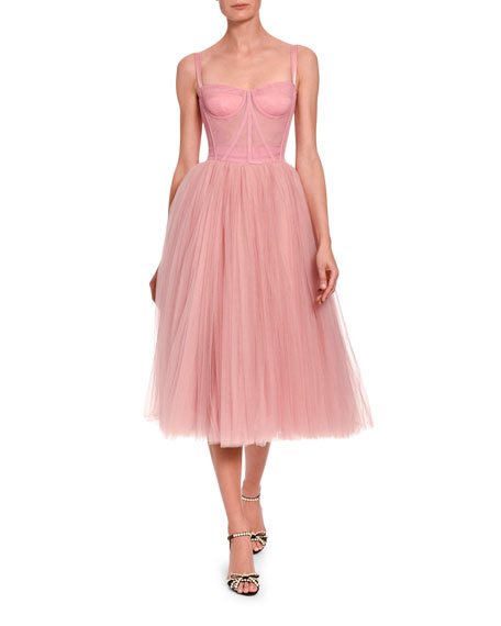 Image 1 of 2: Tulle Bustier Tea-Length Dress