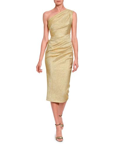 Lame One-Shoulder Cocktail Dress