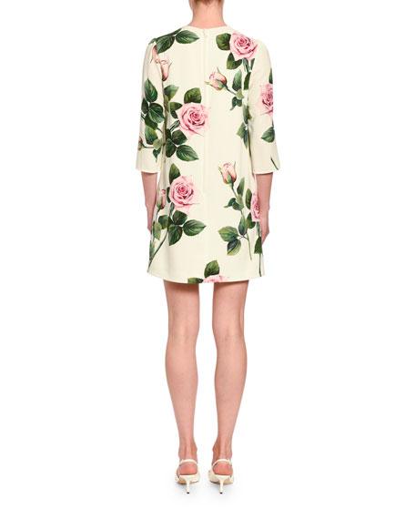 Dolce & Gabbana Floral Cady 3/4-Sleeve Shift Dress