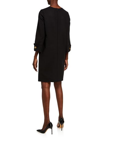 Oscar de la Renta Wool Cocktail Dress Button-Cuff Dress