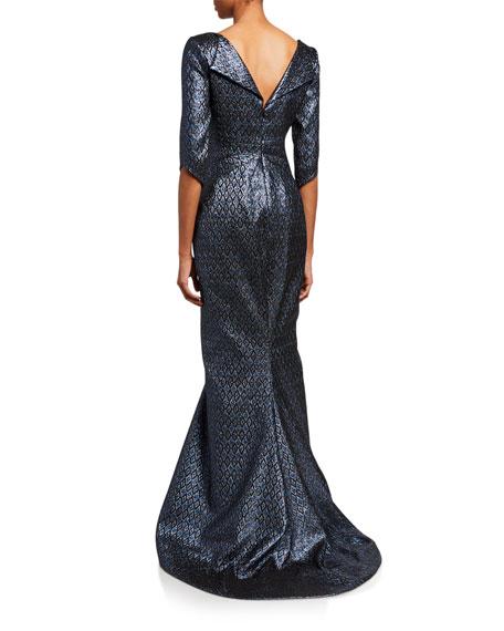 Zac Posen V-Neck Floral Jacquard Gown