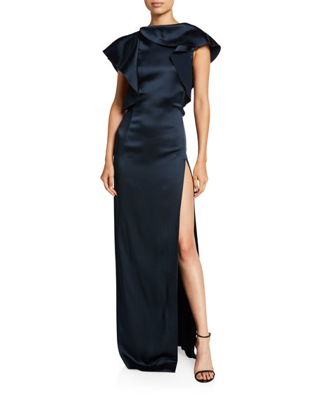 Oscar de la Renta Satin Ruffled High-Neck Gown