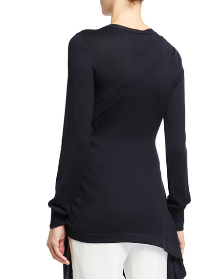 Oscar de la Renta Wool-Silk Tie-Side Sweater