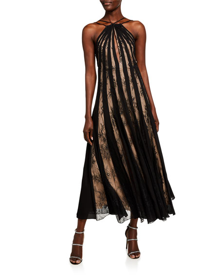 Image 1 of 2: Oscar de la Renta Lace-Striped Halter Neck Dress