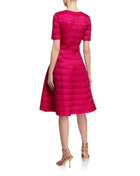Oscar de la Renta Stripe-Textured Cap-Sleeve Dress