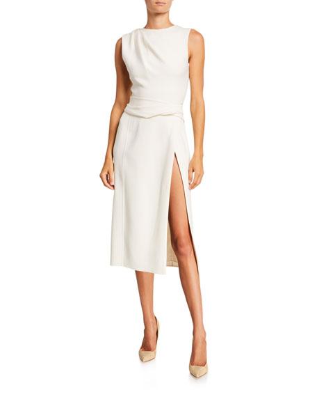Oscar de la Renta Sleeveless Wool Crepe Pencil Dress