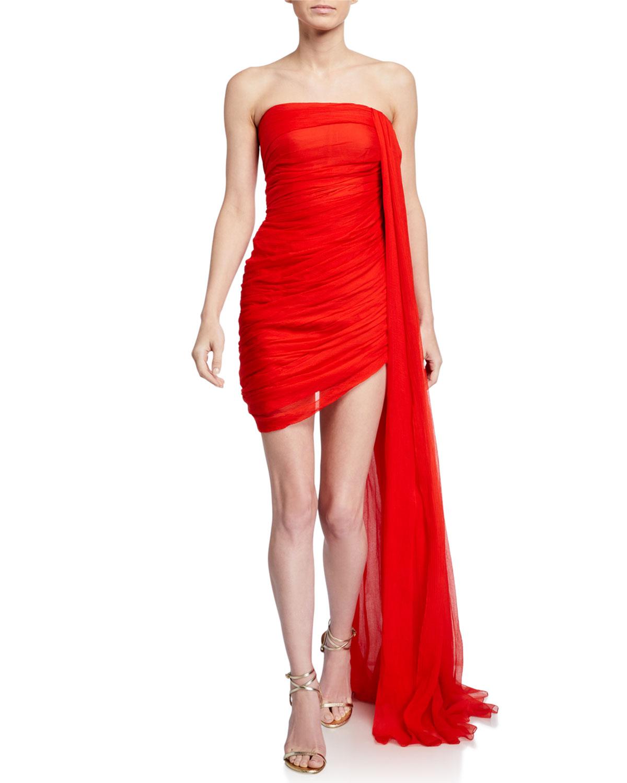 draped-chiffon-strapless-mini-dress by oscar-de-la-renta