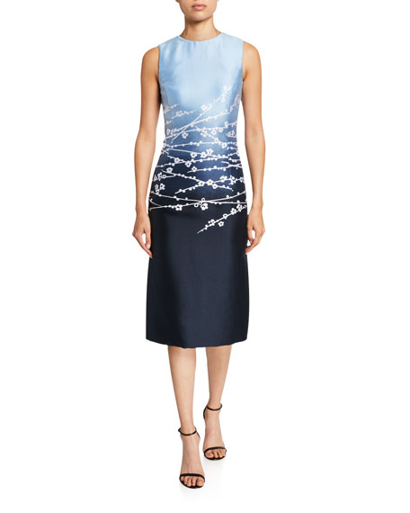 Image 1 of 2: Oscar de la Renta Degrade Sateen Fitted Dress