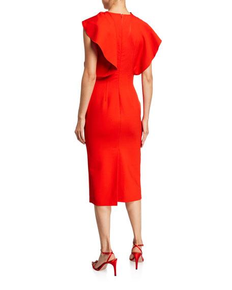 Oscar de la Renta Ruffled High-Neck Pencil Dress