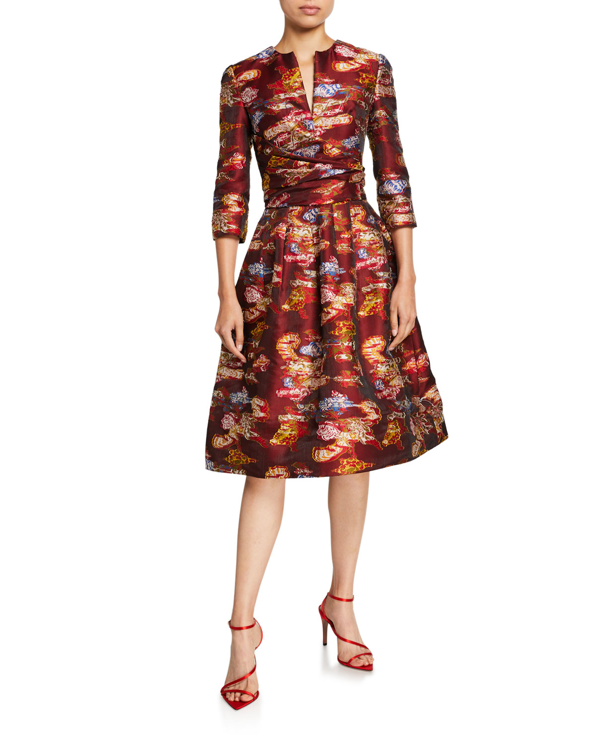 Oscar de la Renta Floral Fil Coupe 3/4-Sleeve Cocktail Dress