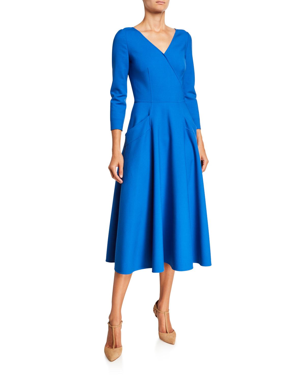 Oscar de la Renta 3/4-Sleeve V-Neck Midi Dress
