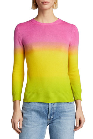 Ralph Lauren Collection Cashmere Dip-Dyed 3/4-Sleeve Sweater
