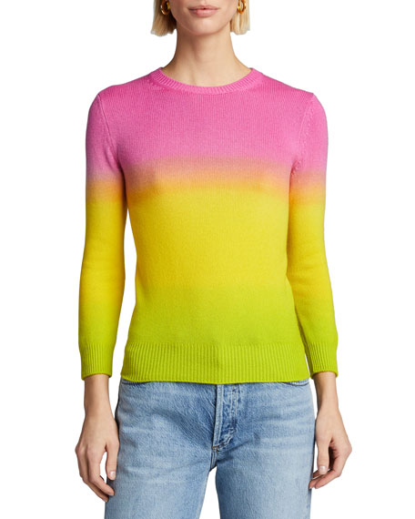 Image 1 of 3: Ralph Lauren Collection Cashmere Dip-Dyed 3/4-Sleeve Sweater