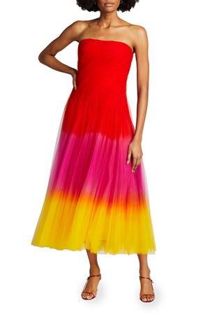 Ralph Lauren Collection Clementine Dip-Dyed Tulle Strapless Dress
