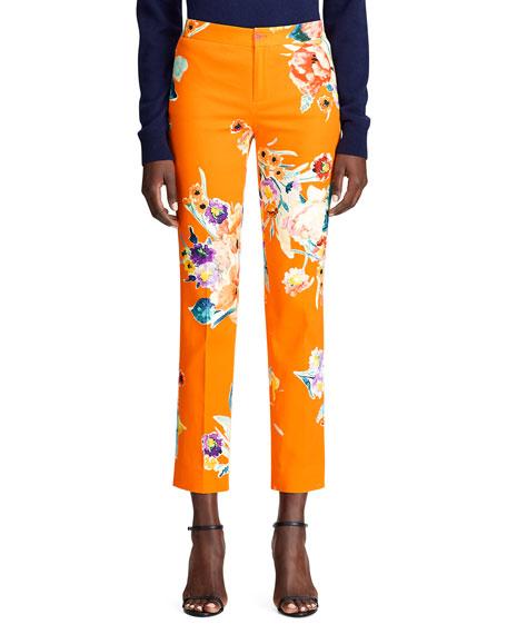 Ralph Lauren CARLINA FLORAL-PRINT STRETCH-COTTON CROP PANTS