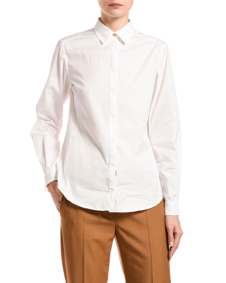 Agnona Poplin Button-Front Blouse