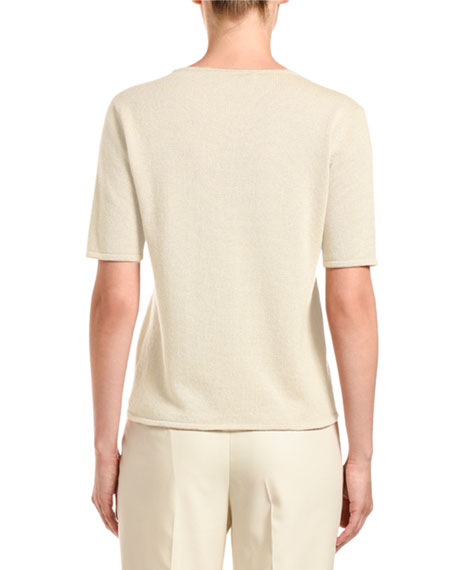 Agnona Cashmere Shimmered Short-Sleeve Sweater