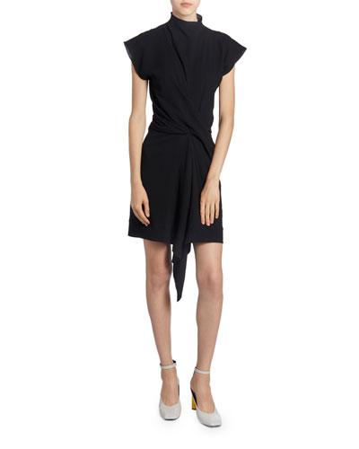 Asymmetric Draped Front Dress