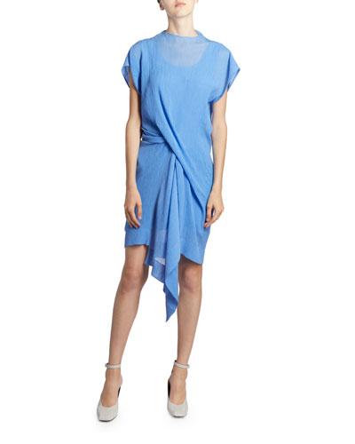 Asymmetric Draped Front Mini Dress