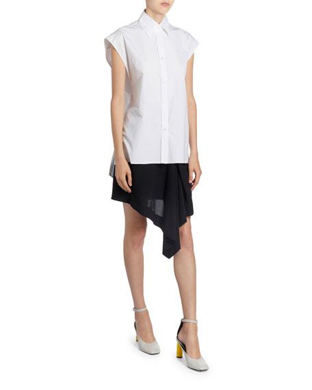 Nina Ricci Poplin Tie-Waist Sleeveless Shirt