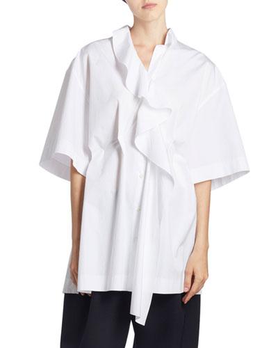 Ruffled-Front Oversized Shirt
