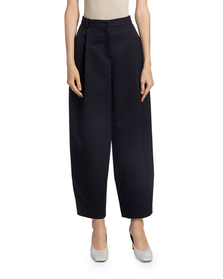Nina Ricci Wool Wide-Leg Cropped Trousers