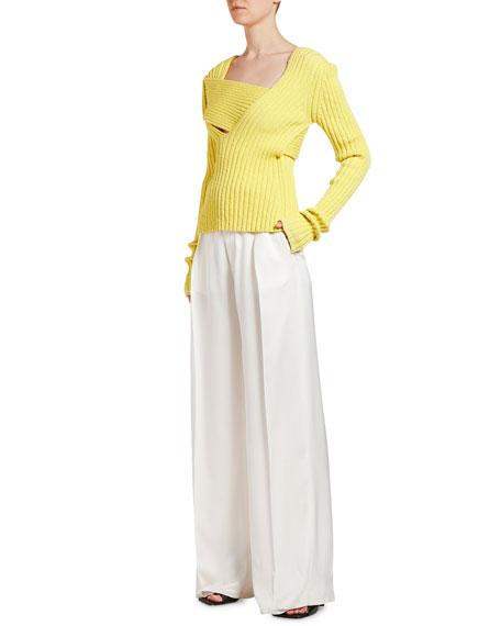 Bottega Veneta Asymmetric Square-Neck Ribbed Sweater