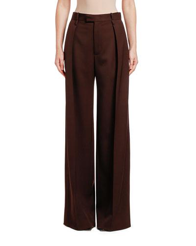 Wool Wide-Leg Pants  Brown