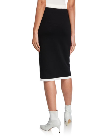 Image 2 of 3: Escada Contrast-Striped Double-Face Wool Skirt