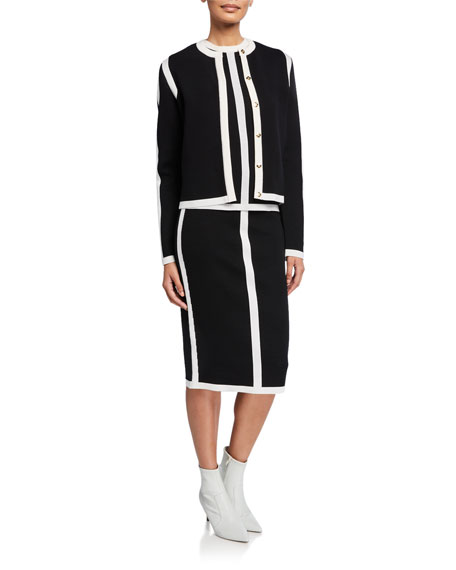 Image 3 of 3: Escada Contrast-Striped Double-Face Wool Skirt