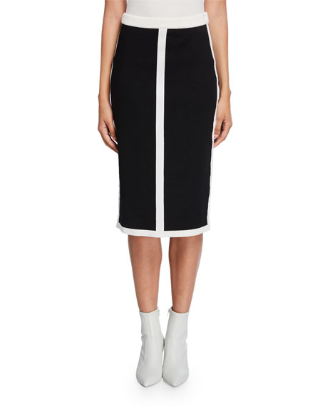 Image 1 of 3: Escada Contrast-Striped Double-Face Wool Skirt