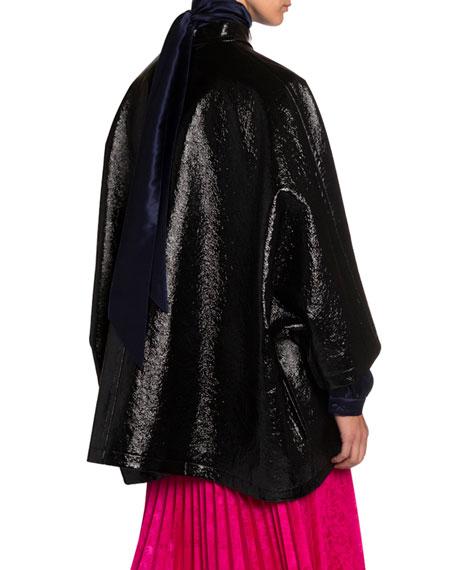 Balenciaga Coated Denim High-Neck Opera Coat