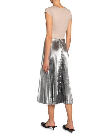 Balenciaga Metallic Pleated Midi Skirt
