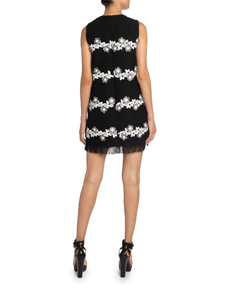 Image 2 of 2: Andrew Gn Floral-Striped Tweed Shift Dress