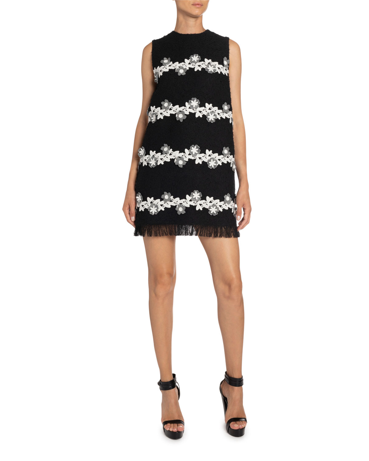 Andrew Gn Floral-Striped Tweed Shift Dress