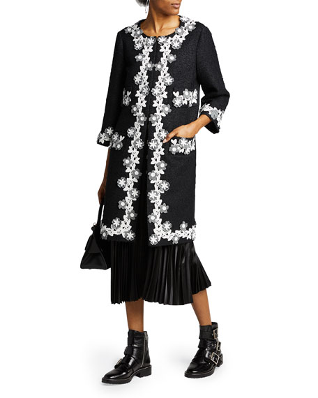 Image 1 of 2: Andrew Gn Floral Trim Tweed Coat