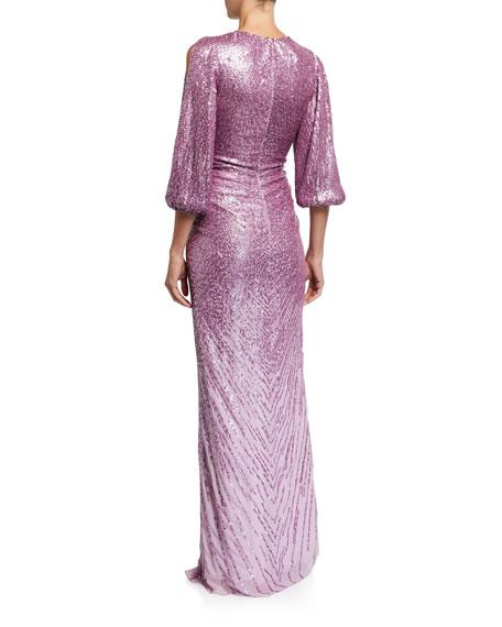 Jenny Packham Sequined V-Neck Split Sleeve Column Gown