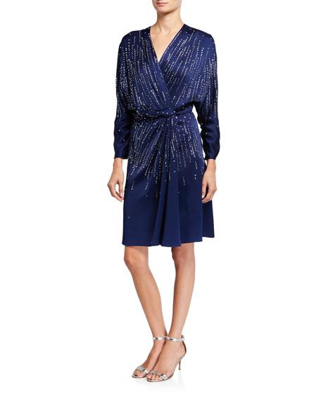 Jenny Packham V-Neck Long-Sleeve A-Line Dress with Sequins