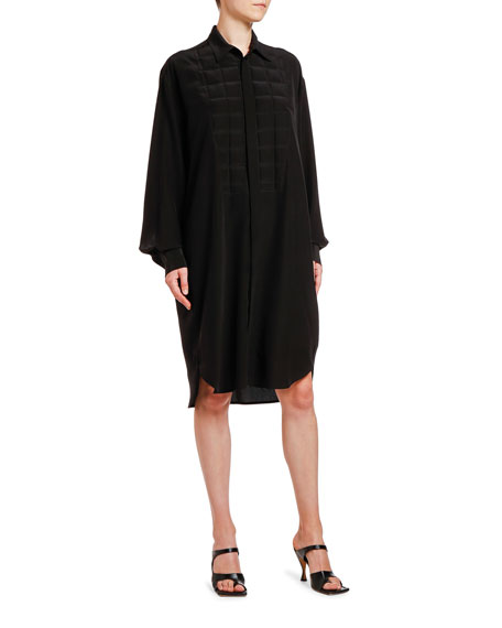 Bottega Veneta Square Heat-Stamped Crepe de Chine Shirtdress