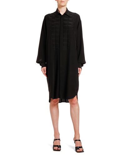 Square Heat-Stamped Crepe de Chine Shirtdress