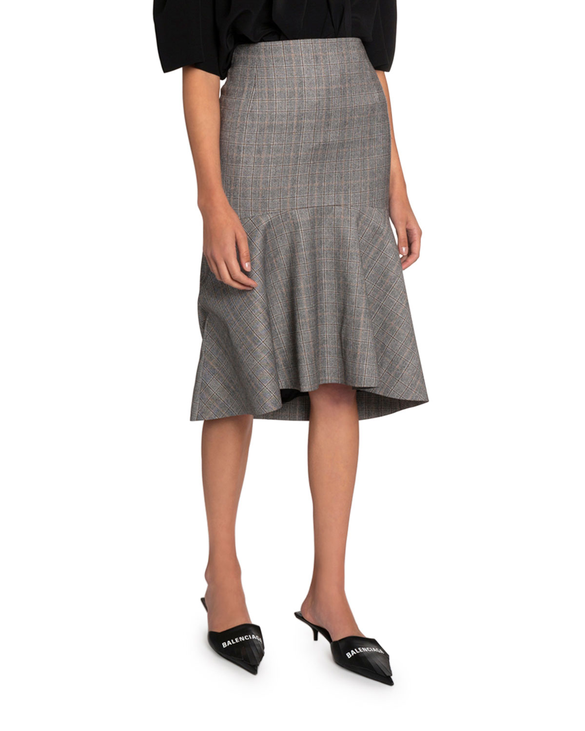 Balenciaga Multi-Checked High-Rise Skirt