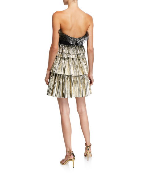 Image 2 of 2: Jenny Packham Strapless Tiered Short Dress