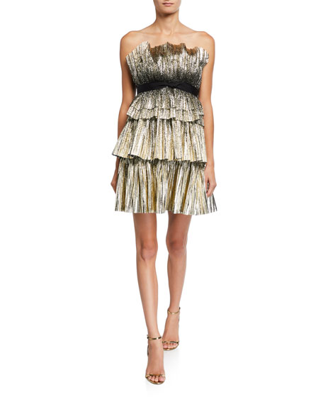Image 1 of 2: Jenny Packham Strapless Tiered Short Dress