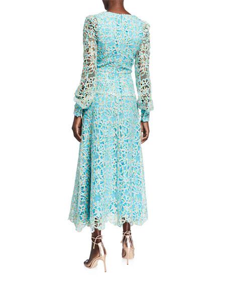 Monique Lhuillier Long-Sleeve Lace Dress