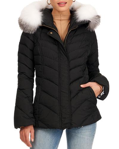 Puffer Jacket W/ Detachable Fox Fur Hood Trim