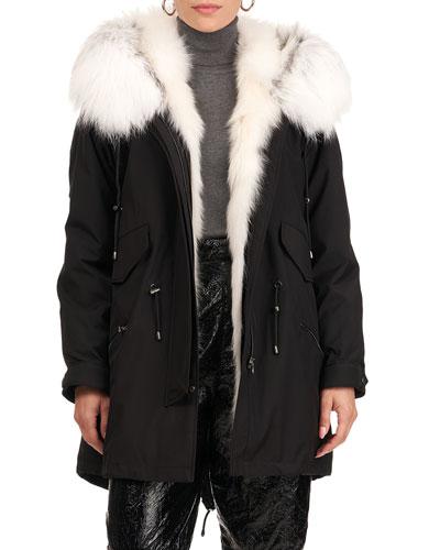 Parka W/ Fox Fur Tuxedo And Trim