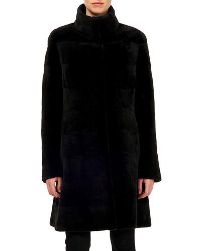 Reversible Sheared Mink Fur & Silk Stroller Coat